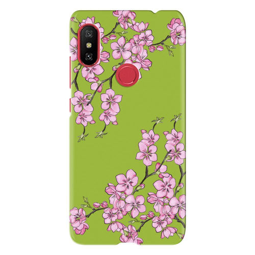 Cherry Blossom Green Design Cover - redmi note 6 - PrintNawab