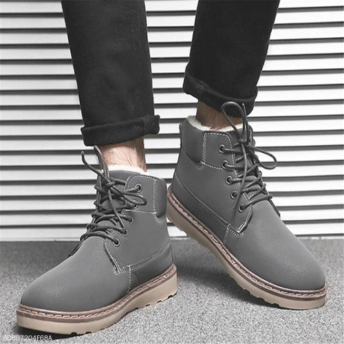 Fashion Youth Casual Thermal Plain Tube Mens Shoes