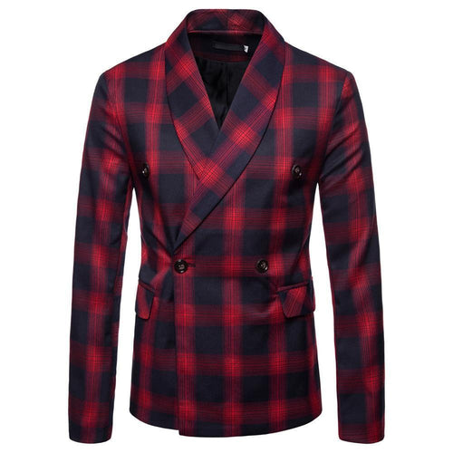 Fashion Slim Button Check Printed Suit Coat