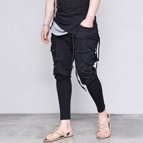 Solid Color Pocket Waist Straps Decorated Casual Men's Pants