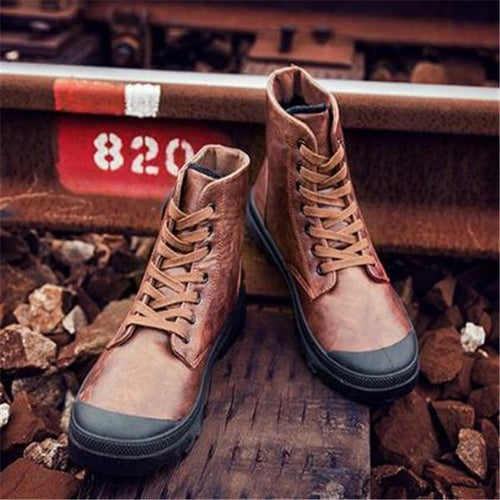 Fashion Casual Solid Color High Tube Men Martin Boot Shoes