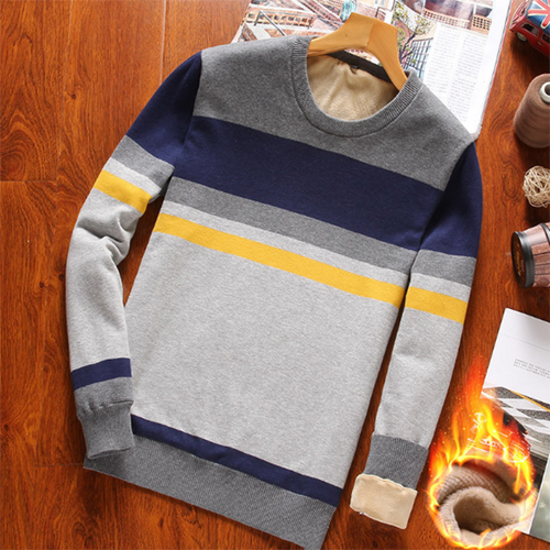 Plus Velvet Basic Contrast Striped Sweater