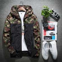 Load image into Gallery viewer, Men's Fashion Colorblock Camouflage Hooded Jacket