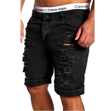 Load image into Gallery viewer, Men's Fashion Solid Color Ripped Short Jeans