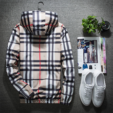 Load image into Gallery viewer, Fashion Men's Plaid Windproof Hooded Jacket