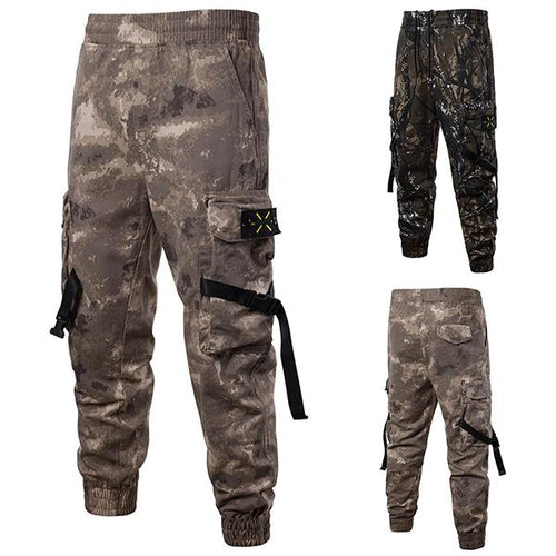 Street Style Camouflage Streamers Jogger Pants