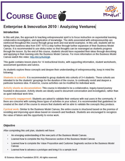 Enterprise and Innovation Course, High School - Course 2 | Analyzing Ventures