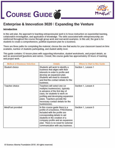 Enterprise and Innovation Course, High School - Course 3 | Expanding the Venture