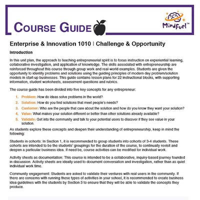 Enterprise and Innovation Course, High School - Course 1 | Challenge & Opportunity