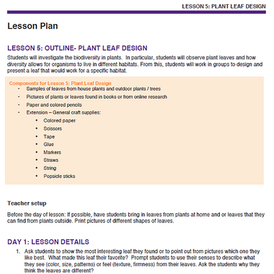 Needs of Plants and Animals - Plant Leaf Design