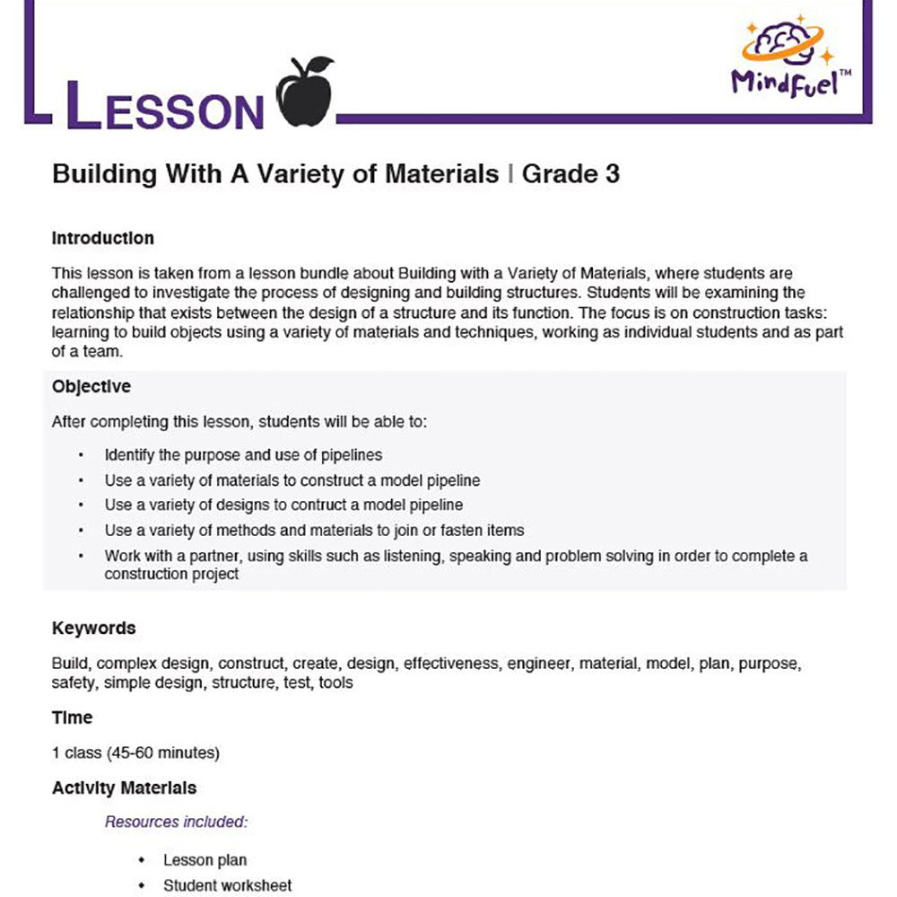 Building with a Variety of Materials - Lesson 4 | Paper Pipeline Project