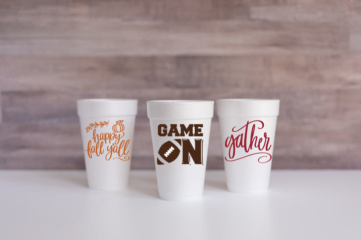 Happy Fall Y'all, Game On, and Gather Cups are perfect to celebrate and welcome fall! We have plastic cups in addition to these foam for everyday life and special occasions.