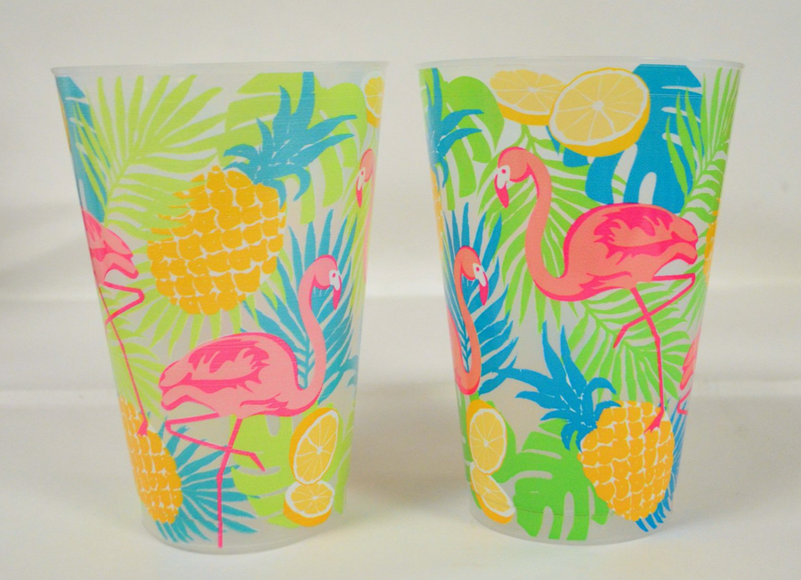 Floral Flamingo Frosted Plastic Cups