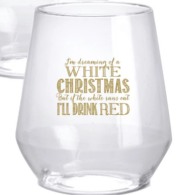 White Christmas Plastic Wine Glasses