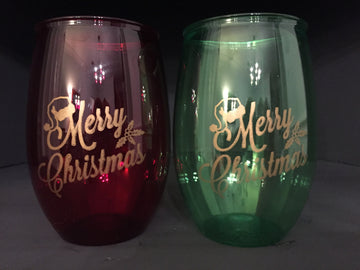 Merry Christmas Plastic Wine Glasses