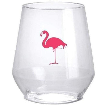 Pink Flamingo Plastic Wine Glasses