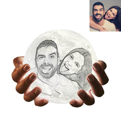 Personalized Moon Lamp with Picture Custom 3D Photo Engraved Moon Light 2 Colors