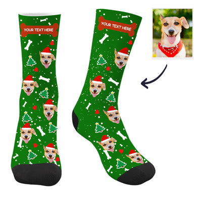 Custom Christmas Pup Socks with Text