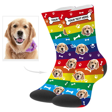 Custom Pup Picture Socks With Your Text