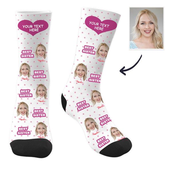 Custom Sister Photo Socks with Your Text