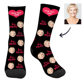 Custom Love You Mom Photo Socks with Text