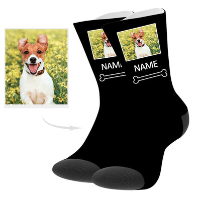 Custom Dog Picture Socks with Text