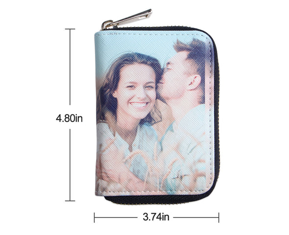 Personalized Photo Wallets|Two side Print Leather Short Card Holder
