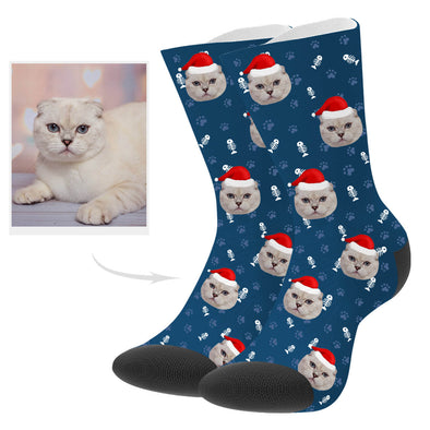 Custom Christmas Cat Photo Socks