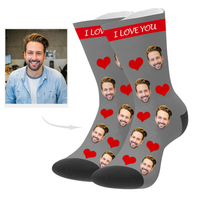 Custom Heart Photo Socks with Your Text