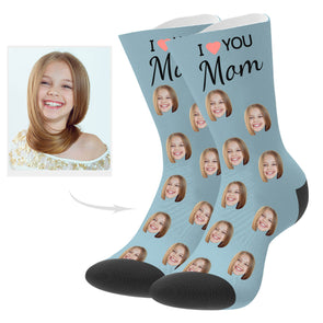 Custom Love Mom Photo Socks