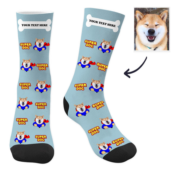 Custom Super Dog Photo Socks with Text