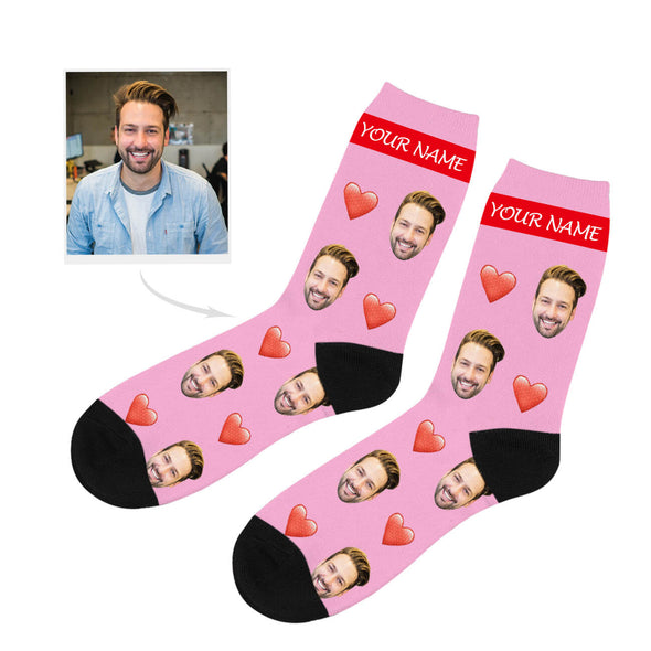 Custom Heart Picture Socks with Your Text