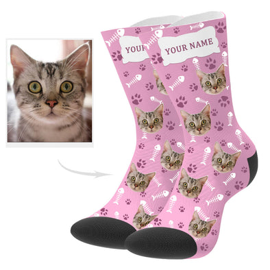 Custom Cat Photo Socks with Text