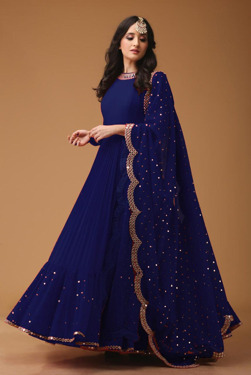 Mirror Work Georgette Fabric Blue Anarkali Suit With Dupatta - AS1001