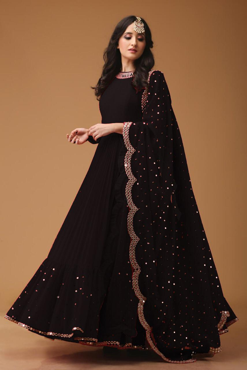 Mirror Work Georgette Fabric Black Anarkali Suit With Dupatta - AS1002