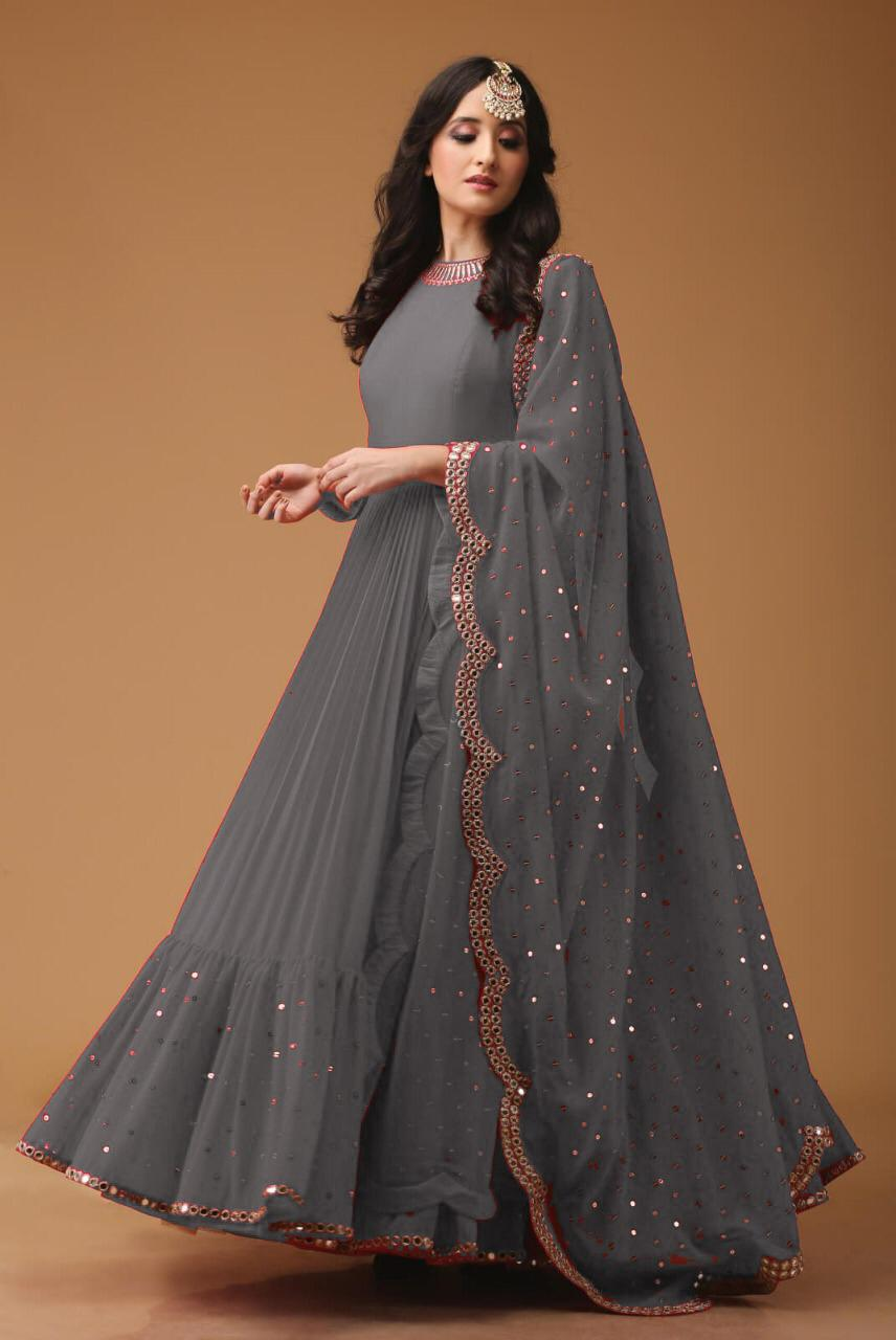 Mirror Work Georgette Fabric Grey Anarkali Suit With Dupatta - AS1003