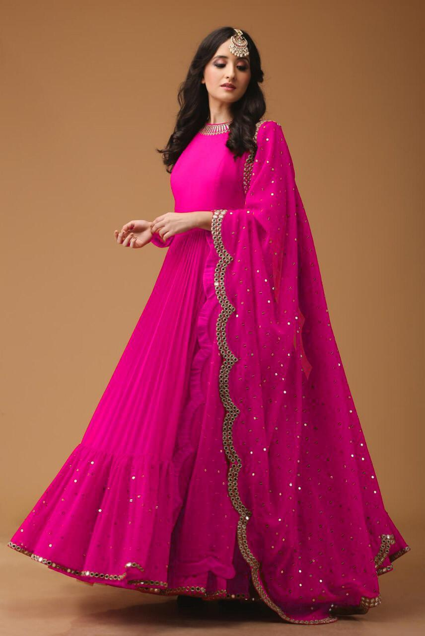 Mirror Work Georgette Fabric Pink Anarkali Suit With Dupatta - AS1004