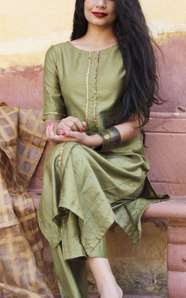Women Upada Silk Fabric Green Colored Stylish Kurta With Bottom - CCK132