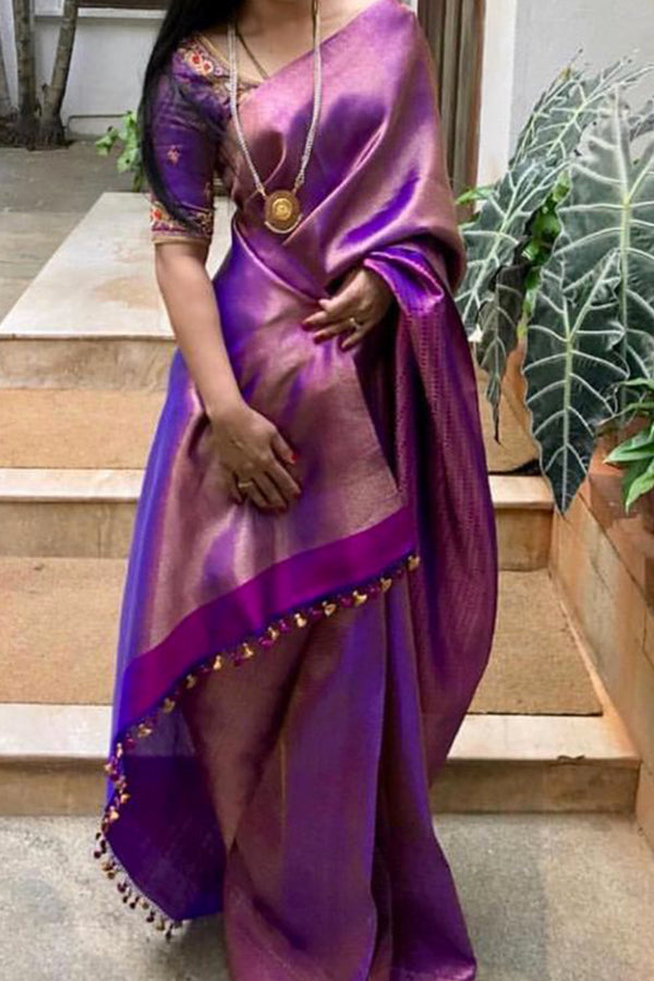 Elegent Purple Colored Soft Silk Saree - CD103 - Ethnik Mall
