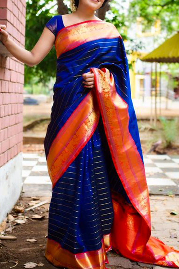 Exclusive Blue Colored Soft Silk Saree - CD114