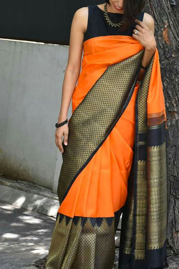 Fantastic Orange Colored Soft Silk Saree - CD124