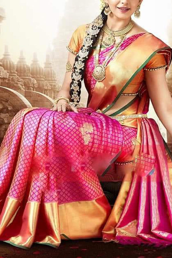 Glowing  Multi Colored Soft Silk Saree - CD127
