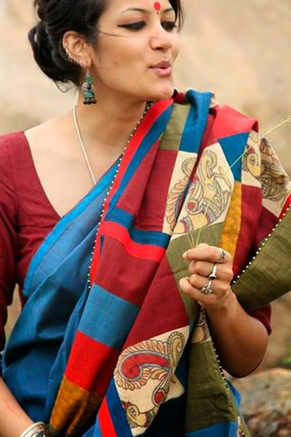 Alluring  Multi Colored Soft Silk Fancy Partywear Functional Saree - CD203 - Ethnik Mall