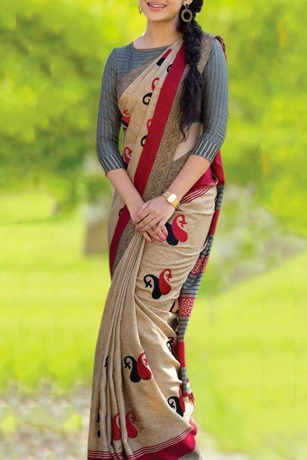 Unique Beige Color Soft Silk Designer Sarees - cnd703