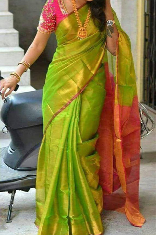 Stunning Light Green Solid Upcoming Silk Saree With Designer Blouse