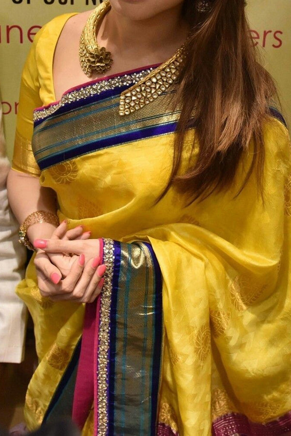 Traditional Silk Yellow Colored Saree With Blouse For Women - CD453