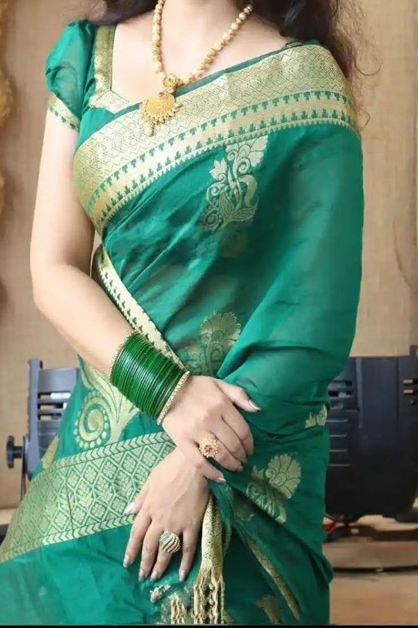 Traditional Silk Green Colored Saree With Blouse For Women - CD565