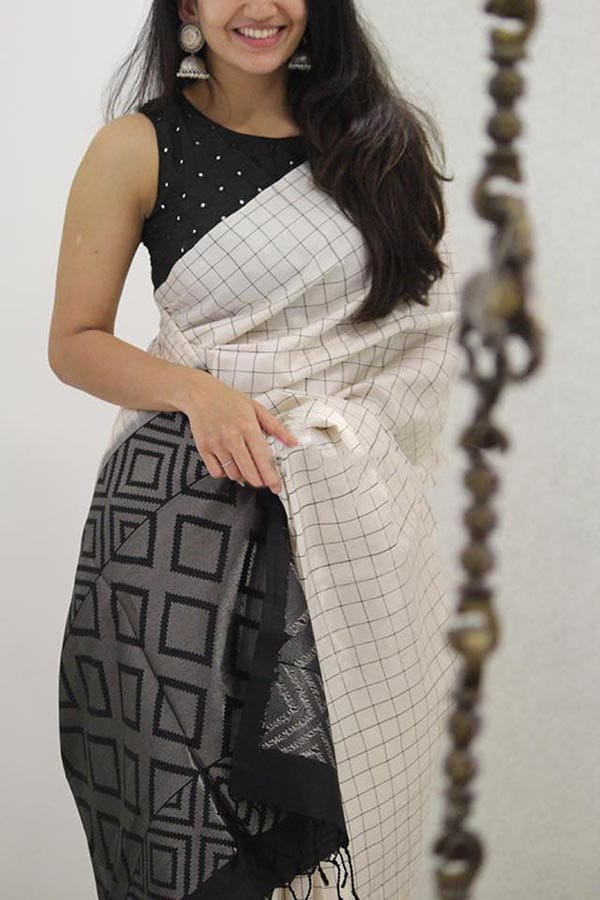 Innovative White and Black Colored Soft Silk Party Wear Saree - CND1427