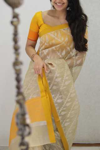 Flattering Cream Colored Soft Silk Party Wear Saree