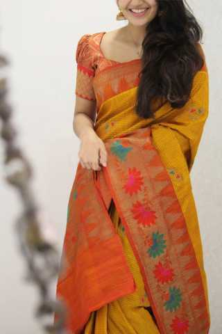 Pretty Yellow Colored Soft Silk Party Wear Saree